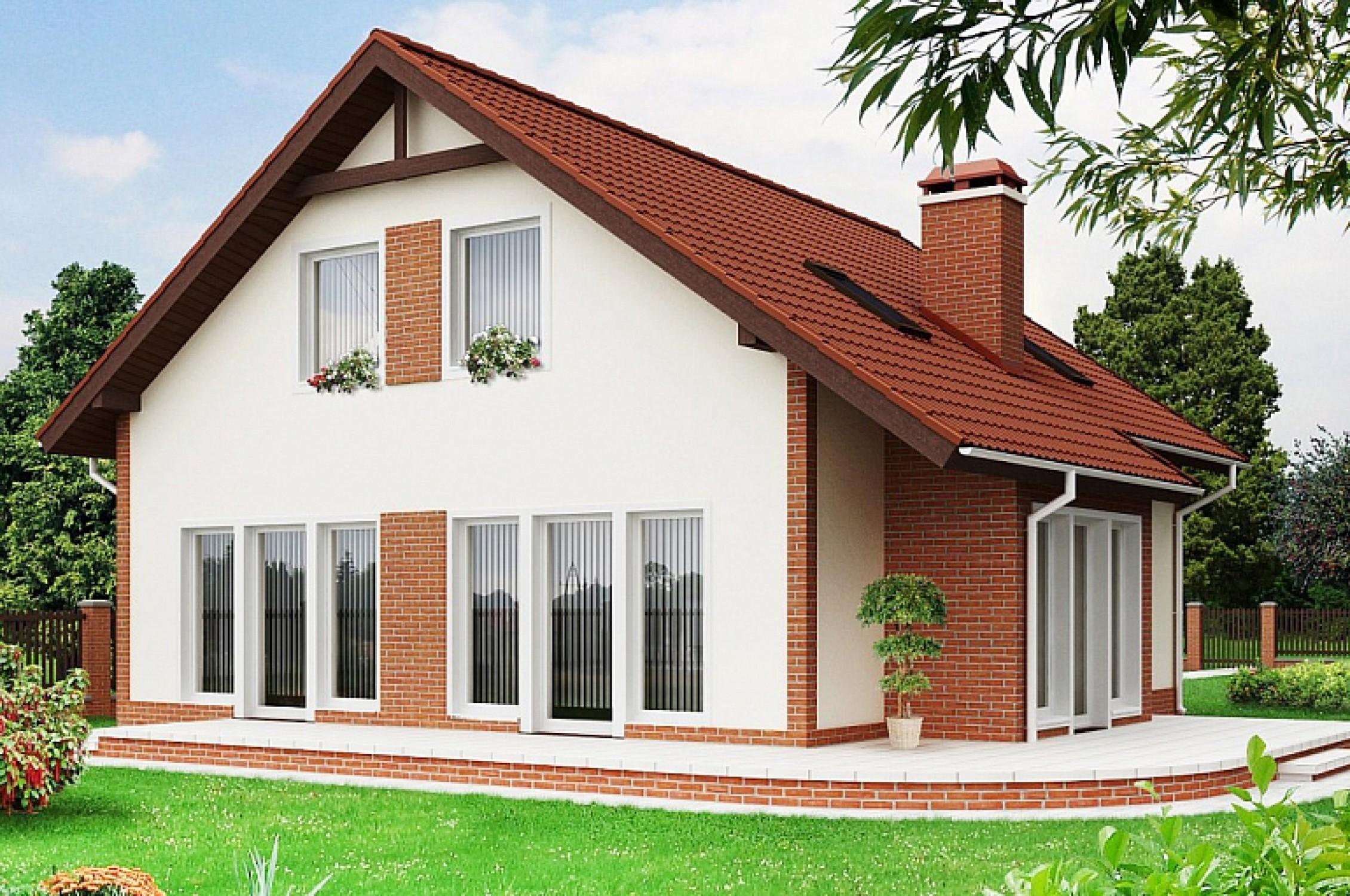Проект частного загородного светлого дома с мансардой dom4m..